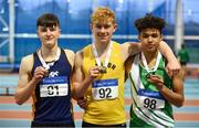 19 January 2019; Youth Men's medallists, from left, Jack Forde of St. Killian's AC, Co. Wexford, silver, Diarmuid O'Connor of Bandon AC, Co.Cork, gold, and Jordan Knight of St. Joseph's AC, Co. Kilkenny, bronze,  during the Irish Life Health Indoor Combined Events All Ages at AIT International Arena in Athlone, Co.Westmeath. Photo by Sam Barnes/Sportsfile