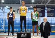 19 January 2019; Youth Men's medallists, from left, Jack Forde of St. Killian's AC, Co. Wexford, silver, Diarmuid O'Connor of Bandon AC, Co.Cork, gold, and Jordan Knight of St. Joseph's AC, Co. Kilkenny, bronze, with Athletics Ireland President Georgina Drumm during the Irish Life Health Indoor Combined Events All Ages at AIT International Arena in Athlone, Co.Westmeath. Photo by Sam Barnes/Sportsfile