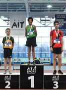 19 January 2019; U14 Boys medallists, from left, Cormac Crotty of Annalee AC, Co. Cavan, silver, John Murphy of Liscarroll AC, Co. Cork, gold, and Eoghan O'Connor of Lucan Harriers AC, Co. Dublin, bronze, during the Irish Life Health Indoor Combined Events All Ages at AIT International Arena in Athlone, Co.Westmeath. Photo by Sam Barnes/Sportsfile