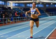 19 January 2019; Laura Frey of Lagan Valley A.C., Co. Antrim, competing in the Senior Women 800m event, during the Irish Life Health Indoor Combined Events All Ages at AIT International Arena in Athlone, Co.Westmeath. Photo by Sam Barnes/Sportsfile