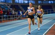 19 January 2019; Lara O'Byrne of Donore Harriers, Co. Dublin, competing in the Junior Women 800m event, during the Irish Life Health Indoor Combined Events All Ages at AIT International Arena in Athlone, Co.Westmeath. Photo by Sam Barnes/Sportsfile