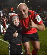 19 January 2019; Rory Best of Ulster with his son Ben following their victory in the Heineken Champions Cup Pool 4 Round 6 match between Leicester Tigers and Ulster at Welford Road in Leicester, England. Photo by Ramsey Cardy/Sportsfile