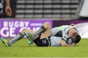 19 January 2019; Jack Carty of Connacht celebrates with teammate Caolin Blade after scoring his side's fifth try duirng the Heineken Challenge Cup Pool 3 Round 6 match between Bordeaux Begles and Connacht at Stade Chaban Delmas in Bordeaux, France. Photo by Manuel Blondeau/Sportsfile