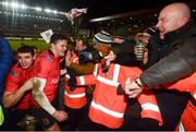 19 January 2019; Nick Timoney, left, and Jacob Stockdale of Ulster following their victory in the Heineken Champions Cup Pool 4 Round 6 match between Leicester Tigers and Ulster at Welford Road in Leicester, England. Photo by Ramsey Cardy/Sportsfile