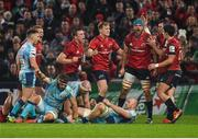 19 January 2019; Tadhg Beirne of Munster is congratulated by teammates after winning a turnover during the Heineken Champions Cup Pool 2 Round 6 match between Munster and Exeter Chiefs at Thomond Park in Limerick. Photo by Diarmuid Greene/Sportsfile