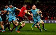 19 January 2019; Matt Kvesic of Exeter Chiefs is tackled by Peter O'Mahony of Munster during the Heineken Champions Cup Pool 2 Round 6 match between Munster and Exeter Chiefs at Thomond Park in Limerick. Photo by Brendan Moran/Sportsfile