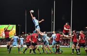 19 January 2019; Sam Skinner of Exeter Chiefs wins a lineout from Peter O'Mahony of Munster during the Heineken Champions Cup Pool 2 Round 6 match between Munster and Exeter Chiefs at Thomond Park in Limerick. Photo by Brendan Moran/Sportsfile