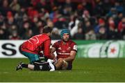 19 January 2019; Tadhg Beirne of Munster receives medical attention during the Heineken Champions Cup Pool 2 Round 6 match between Munster and Exeter Chiefs at Thomond Park in Limerick. Photo by Diarmuid Greene/Sportsfile