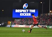 19 January 2019; Joey Carbery of Munster kicks a penalty to give his side the lead during the Heineken Champions Cup Pool 2 Round 6 match between Munster and Exeter Chiefs at Thomond Park in Limerick. Photo by Brendan Moran/Sportsfile
