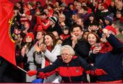 19 January 2019; Munster supporters celebrate a penalty awarded to Munster late in the Heineken Champions Cup Pool 2 Round 6 match between Munster and Exeter Chiefs at Thomond Park in Limerick. Photo by Brendan Moran/Sportsfile