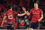 19 January 2019; Joey Carbery, left, and Chris Farrell of Munster celebrate at the final whistle of the Heineken Champions Cup Pool 2 Round 6 match between Munster and Exeter Chiefs at Thomond Park in Limerick. Photo by Brendan Moran/Sportsfile