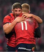 19 January 2019; Dan Goggin, left, and Keith Earls of Munster celebrate after the Heineken Champions Cup Pool 2 Round 6 match between Munster and Exeter Chiefs at Thomond Park in Limerick. Photo by Brendan Moran/Sportsfile