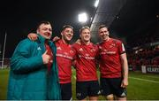 19 January 2019; Munster players, from left, Dave Kilcoyne, Dan Goggin, Mike Haley, and Chris Farrell celebrate after the Heineken Champions Cup Pool 2 Round 6 match between Munster and Exeter Chiefs at Thomond Park in Limerick. Photo by Diarmuid Greene/Sportsfile