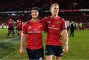 19 January 2019; Tyler Bleyendaal, left, and Mike Haley of Munster celebrate after the Heineken Champions Cup Pool 2 Round 6 match between Munster and Exeter Chiefs at Thomond Park in Limerick. Photo by Brendan Moran/Sportsfile