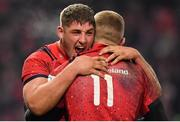 19 January 2019; Dan Goggin, left, and Keith Earls of Munster celebrate at the final whistle of the Heineken Champions Cup Pool 2 Round 6 match between Munster and Exeter Chiefs at Thomond Park in Limerick. Photo by Brendan Moran/Sportsfile