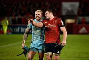 19 January 2019; Jack Nowell of Exeter Chiefs and CJ Stander of Munster in conversation after the Heineken Champions Cup Pool 2 Round 6 match between Munster and Exeter Chiefs at Thomond Park in Limerick. Photo by Diarmuid Greene/Sportsfile