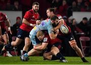 19 January 2019; Luke Cowan-Dickie of Exeter Chiefs loses possession as he is tackled by Jeremy Loughman, left, and Arno Botha of Munster during the Heineken Champions Cup Pool 2 Round 6 match between Munster and Exeter Chiefs at Thomond Park in Limerick. Photo by Brendan Moran/Sportsfile