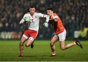 19 January 2019; Declan McClure of Tyrone in action against Niall Grimley of Armagh during the Bank of Ireland Dr McKenna Cup Final match between Armagh and Tyrone at the Athletic Grounds in Armagh. Photo by Oliver McVeigh/Sportsfile