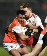 19 January 2019; Jemar Hall of Armagh in action against Niall Sludden of Tyrone during the Bank of Ireland Dr McKenna Cup Final match between Armagh and Tyrone at the Athletic Grounds in Armagh. Photo by Oliver McVeigh/Sportsfile
