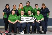 20 January 2019; Athletes and Coaches from Co. Down, front row, from left, Swimming Athlete Emma Carlisle, Kayaking Athlete Fergal Gregory, Swimming Athlete Peadar Connolly, Basketball Athlete Gemma O'Keefe. Back Row, from left, Gymnasics Coach Nicole McKervey, Swimming Coach Esther King, Eqestrian Athlete Megan McElherron, Swimming Athlete Connor McClorey Basketball Athlete Amy Watters and Bowling Coach Helen McKee in attendance at the Special Olympics Ireland official launch Team Ireland for the 2019 Word Summer Games at the Carlton Hotel Tyrelstown in Dublin. Photo by Harry Murphy/Sportsfile