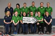 20 January 2019; Athletes and Coaches from Co. Cork, front row, from left, Bowling Coach Karen O'Brien, Football Athlete James Hunter, Bowling Athlete Rosarie McCarthy, Football Athlete David Dunlea, Football Athlete Thomas O'Herlihy, Swimming Coach Julie Dwyer. Back Row, from left, Golf Coach Michael Forde, Table Tennis Athlete Aoife McMahon, Athletics Athlete Roy Saville, Football Athlete Wayne O'Callaghan, Football Athlete Stephen O'Leary and Athletics Athlete Brendan Maguire  in attendance at the Special Olympics Ireland official launch Team Ireland for the 2019 Word Summer Games at the Carlton Hotel Tyrelstown in Dublin. Photo by Harry Murphy/Sportsfile