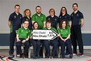 20 January 2019; Athletes and Coaches from Co. Galway, front row, from left, Bocce Athlete Matthew Brennan, Bowling Athlete Aine McDermott, Athletics Athlete Katie Dillom and Kayaking Athlete Michelle O'Keane. Back Row, from left, Bowling Coach Michael Spelman, Basketball Coach Evelyn Bohan, Golf Athlete Simon Lowry, Basketball Coach Gina Naughton, Gymnastics Coach Angela Griffin and Medical Co-Ordinatior Colm Keane in attendance at the Special Olympics Ireland official launch Team Ireland for the 2019 Word Summer Games at the Carlton Hotel Tyrelstown in Dublin. Photo by Harry Murphy/Sportsfile