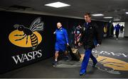 20 January 2019; Leinster head coach Leo Cullen, right, and Leinster kicking coach and head analyst Emmet Farrell arrives ahead of the Heineken Champions Cup Pool 1 Round 6 match between Wasps and Leinster at the Ricoh Arena in Coventry, England. Photo by Ramsey Cardy/Sportsfile