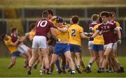 20 January 2019; Players from both sides, including Johnny Heaney of Galway, 10, and Gary Patterson of Roscommon, tussle during the Connacht FBD League Final match between Galway and Roscommon at Tuam Stadium in Galway. Photo by Sam Barnes/Sportsfile
