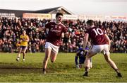 20 January 2019; Barry McHugh of Galway celebrates with teammate Johnny Heaney after scoring his side's first goal  during the Connacht FBD League Final match between Galway and Roscommon at Tuam Stadium in Galway. Photo by Sam Barnes/Sportsfile