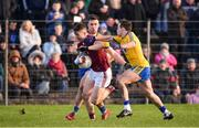 20 January 2019; Johnny Heaney of Galway in action against Niall Kilroy, right, and Evan McGrath of Roscommon during the Connacht FBD League Final match between Galway and Roscommon at Tuam Stadium in Galway. Photo by Sam Barnes/Sportsfile