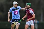 20 January 2019; David Fitzgerald of UCD tangles with Brian Concannon of NUI Galway, before Fitzgerald was shown a yellow card by referee Paud O'Dwyer, during the Electric Ireland Fitzgibbon Cup Round 1 match between University College Dublin and NUI Galway at Billings Park in UCD, Belfield, Dublin. Photo by Piaras Ó Mídheach/Sportsfile