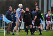 20 January 2019; David Fitzgerald of UCD is shown the yellow card by referee Paud O'Dwyer, after a tangle with Brian Concannon of NUI Galway, during the Electric Ireland Fitzgibbon Cup Round 1 match between University College Dublin and NUI Galway at Billings Park in UCD, Belfield, Dublin. Photo by Piaras Ó Mídheach/Sportsfile