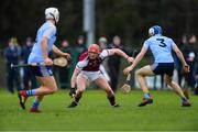 20 January 2019; Conor Whelan of NUI Galway in action against Huw Lalor, right, and Michael Purcell of UCD during the Electric Ireland Fitzgibbon Cup Round 1 match between University College Dublin and NUI Galway at Billings Park in UCD, Belfield, Dublin. Photo by Piaras Ó Mídheach/Sportsfile