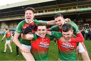 20 January 2019; Kilcummin players from left, Pádraig Nagle, Matt Keane, Ian Devine and Kevin McCarthy celebrate following the AIB GAA Football All-Ireland Intermediate Championship semi-final match between Two Mile House and Kilcummin at the Gaelic Grounds in Limerick. Photo by Eóin Noonan/Sportsfile