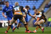 20 January 2019; Jordan Larmour of Leinster is tackled by Ben Morris, left, and Dan Robson of Wasps during the Heineken Champions Cup Pool 1 Round 6 match between Wasps and Leinster at the Ricoh Arena in Coventry, England. Photo by Ramsey Cardy/Sportsfile