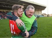 20 January 2019; Kilcummin manager Willie Maher celebrates with Gary O'Leary of Kilcummin  following the AIB GAA Football All-Ireland Intermediate Championship semi-final match between Two Mile House and Kilcummin at the Gaelic Grounds in Limerick. Photo by Eóin Noonan/Sportsfile