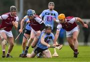 20 January 2019; Seán Carey of UCD in action against NUI Galway players, from left, Andrew Geaney, Pat Monaghan, and Paul Hoban during the Electric Ireland Fitzgibbon Cup Round 1 match between University College Dublin and NUI Galway at Billings Park in UCD, Belfield, Dublin. Photo by Piaras Ó Mídheach/Sportsfile