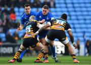20 January 2019; Tadhg Furlong of Leinster is tackled by Ben Morris, left, and Jake Cooper-Woolley of Wasps during the Heineken Champions Cup Pool 1 Round 6 match between Wasps and Leinster at the Ricoh Arena in Coventry, England. Photo by Ramsey Cardy/Sportsfile