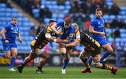 20 January 2019; Garry Ringrose of Leinster is tackled by Zurabi Zhvania, left, and Ben Morris of Wasps during the Heineken Champions Cup Pool 1 Round 6 match between Wasps and Leinster at the Ricoh Arena in Coventry, England. Photo by Ramsey Cardy/Sportsfile