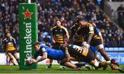 20 January 2019; Garry Ringrose scores his sides first try during the Heineken Champions Cup Pool 1 Round 6 match between Wasps and Leinster at the Ricoh Arena in Coventry, England. Photo by Ramsey Cardy/Sportsfile