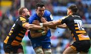 20 January 2019; James Ryan of Leinster is tackled by Tom Cruse, left, and Josh Bassett of Wasps during the Heineken Champions Cup Pool 1 Round 6 match between Wasps and Leinster at the Ricoh Arena in Coventry, England. Photo by Ramsey Cardy/Sportsfile