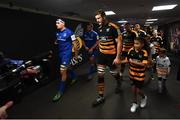 20 January 2019; Rhys Ruddock of Leinster and Joe Launchbury of Wasps leads the sides out ahead of the Heineken Champions Cup Pool 1 Round 6 match between Wasps and Leinster at the Ricoh Arena in Coventry, England. Photo by Ramsey Cardy/Sportsfile