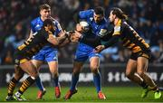 20 January 2019; Robbie Henshaw of Leinster is tackled by Gaby Lovobalavu, left, and Michele Campagnaro of Wasps during the Heineken Champions Cup Pool 1 Round 6 match between Wasps and Leinster at the Ricoh Arena in Coventry, England. Photo by Ramsey Cardy/Sportsfile