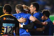 20 January 2019; Leinster's Noel Reid, second right, celebrates with team-mates after scoring his side's fourth try during the Heineken Champions Cup Pool 1 Round 6 match between Wasps and Leinster at the Ricoh Arena in Coventry, England. Photo by Ramsey Cardy/Sportsfile