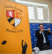 20 January 2019; Leinster Rugby Executive Commitee Member Robert McDermott pulls out the name of Tullow RFC during the Bank of Ireland Provincial Towns Cup Round 2 Draw at Carlow RFC in Oakpark, Carlow. Photo by David Fitzgerald/Sportsfile
