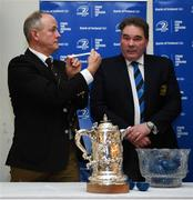 20 January 2019; Michael Carbery, Co Carlow RFC president, left, pulls out the name of Gorey RFC alongside Leinster Rugby Executive Commitee Member Robert McDermott during the Bank of Ireland Provincial Towns Cup Round 2 Draw at Carlow RFC in Oakpark, Carlow. Photo by David Fitzgerald/Sportsfile