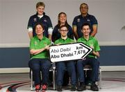 20 January 2019; Athletes and Coaches from Co. Limerick, front row, from left, Bocce Athlete Caroline Torpey, Swimming Athlete, Alan Quinlan, Football Athlete Brian O'Sullivan. Back Row, from left, Assitant HOD Noreen O'Connell, Basketball Coach Dorothy Kavanagh and Equestrian Coach Hitesh Varsani  in attendance at the Special Olympics Ireland official launch Team Ireland for the 2019 Word Summer Games at the Carlton Hotel Tyrellstown in Dublin. Photo by Harry Murphy/Sportsfile