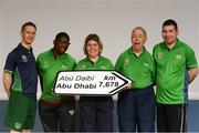 20 January 2019; Athletes and Coaches from Co. Wicklow, from left, Graham Hillick, Rukky Atiyota, Aisling Beacon, Padraig Reilly and Paul Condren in attendance at the Special Olympics Ireland official launch Team Ireland for the 2019 Word Summer Games at the Carlton Hotel Tyrellstown in Dublin. Photo by Harry Murphy/Sportsfile
