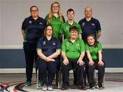 20 January 2019; Athletes and Coaches from Co. Tyrone, back row, from left, Emma McMenamin, Siobhan Dunne, Lee Mitchell, Tommy McCay, front row, from left, Katherine Kelly, Richard Currie and Shannon Nixon in attendance at the Special Olympics Ireland official launch Team Ireland for the 2019 Word Summer Games at the Carlton Hotel Tyrellstown in Dublin. Photo by Harry Murphy/Sportsfile