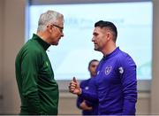 21 January 2019; Republic of Ireland assistant coach Robbie Keane, right, and FAI High Performance Director Ruud Dokter in conversation during the FAI UEFA Pro Licence course at Johnstown House in Enfield, Co Meath. Photo by Seb Daly/Sportsfile